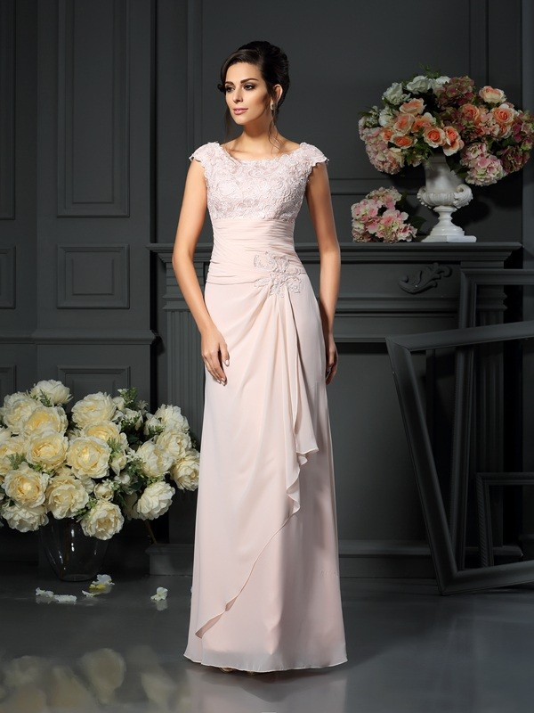 A-Linie Chiffon U-Ausschnitt Lange Pearl Rosa Mother of the Bride Kleider
