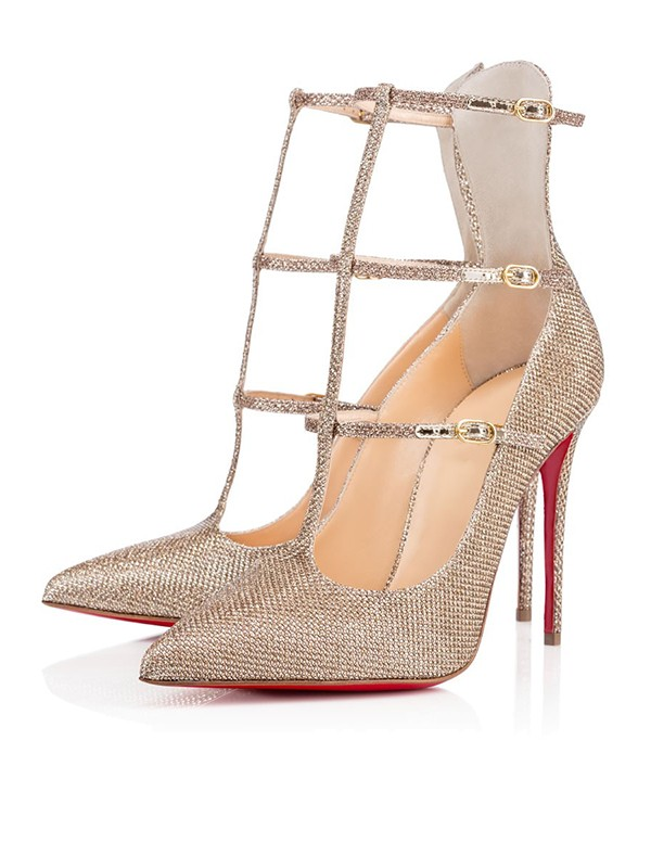 Sparkling Glitter Closed Toe Mit Buckle Stiletto Heel Hogklackat