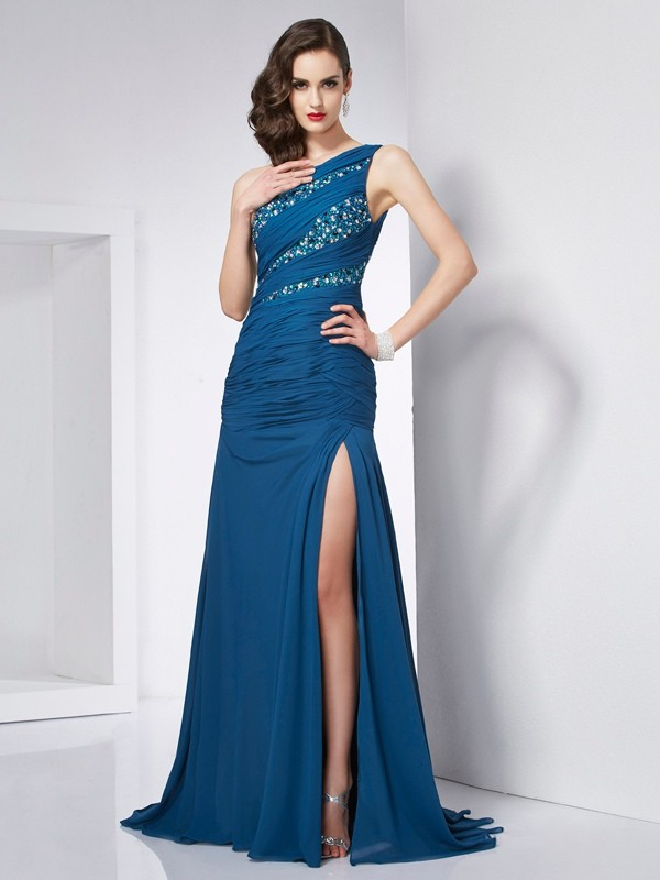 Andere One-Shoulder-Träger Chiffon Brush Train Prom Kleider