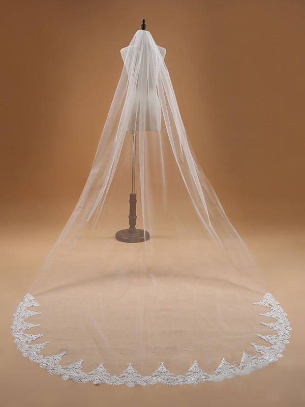 Elegant Tüll With Spitze Wedding Veils
