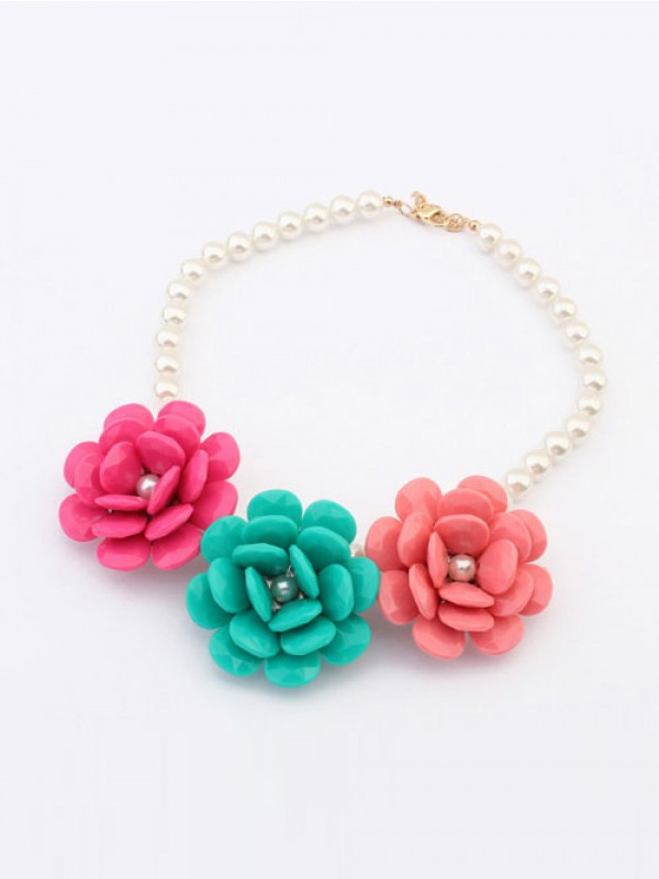 West Candy colors Imitation Big Blommor Schlussverkauf Halsband
