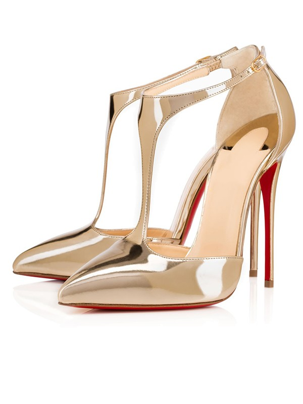 Patent Leather Closed Toe Stiletto Heel Guld Sandaler Schuhe